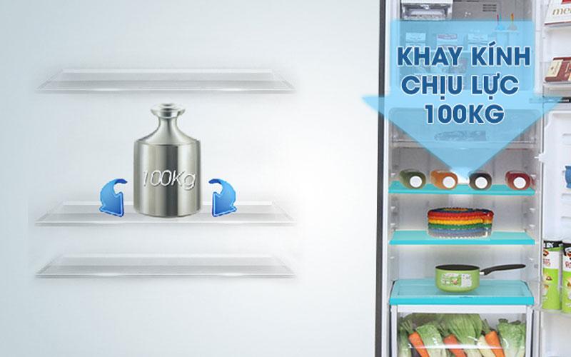 Các khay kệ với chất liệu khay kính chịu lực mang đến sự an tâm khi đặt để thực phẩm nặng