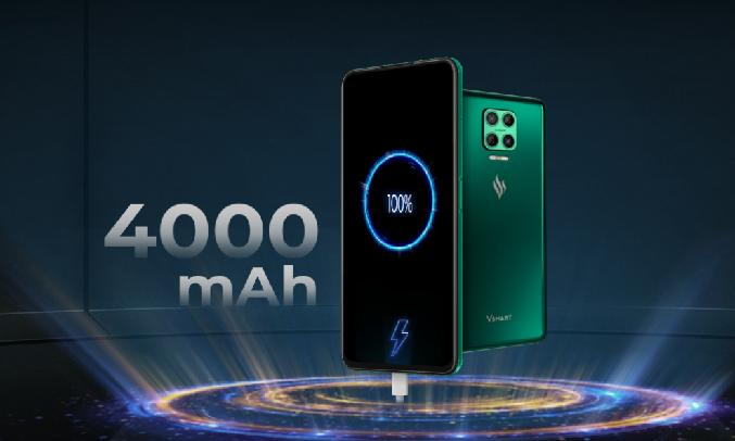 Điện thoại Vsmart Aris 8GB/128GB Lam Thủy Triều - Dung lượng pin lên đến 4000 mAh