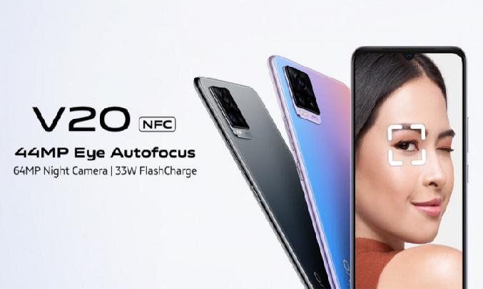 Điện thoại Vivo V20 (8GB/128GB) Xanh hồng - Camera Selfie ấn tượng