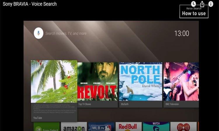 Tivi 4K Sony 55 inch KD55X9000E/SVN3 tìm kiếm bằng giọng nói thông minh