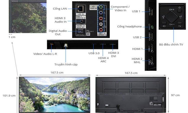 Kết nối dễ dàng, nhanh chóng cùng với hệ thống cổng kết nối được trang bị trên Tivi 4K Sony 75 inch KD-75X8500E VN3