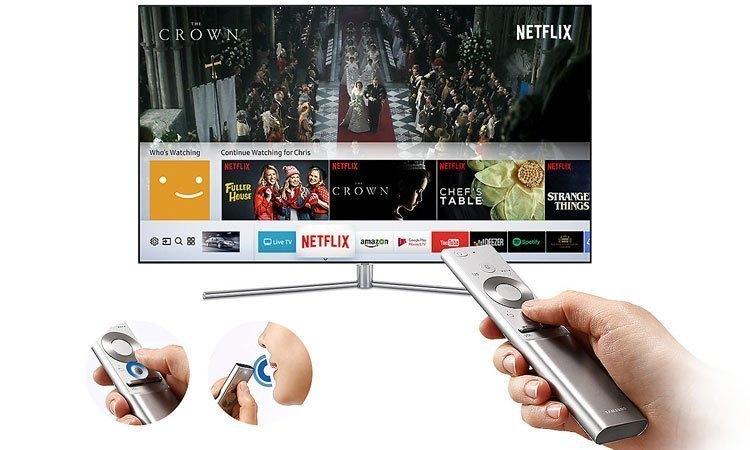Điều khiển cực kỳ dễ dàng bằng chức năng One Remote trên chiếc Tivi QLED Samsung QA55Q7FAMKXXV