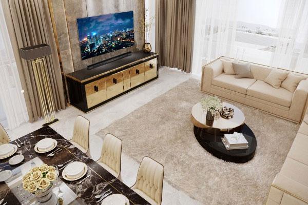 Phòng ăn kết hợp phòng khách vừa tiết kiệm không gian vừa dễ dàng giải trí
