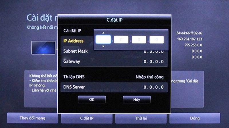 Liên lạc với nhà cung cấp dịch vụ internet để xin các thông số như IP address, Subnet Mask, Gateway, DNS server mà tivi yêu cầu rồi nhập thủ công vào tivi