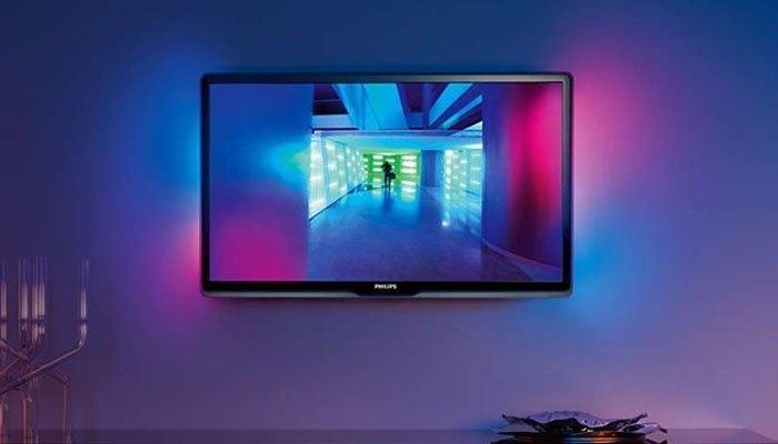 Đèn LED sau lưng tivi Philipsgiúp tạo ra cảm giác hình ảnh rộng hơn