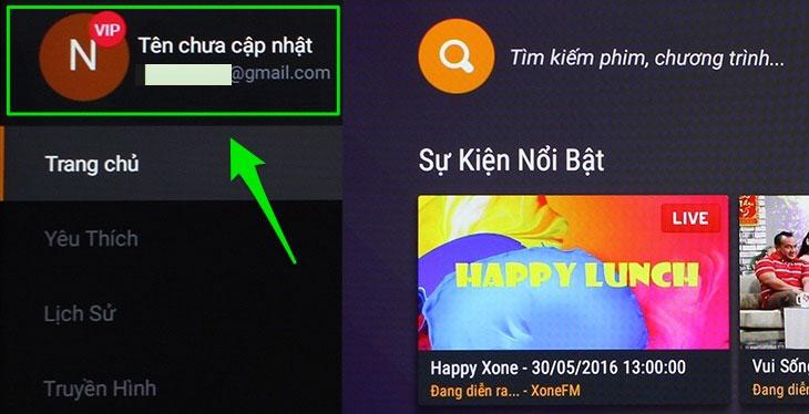 Vào giao diệnFPT Play trên tivi, nhấn chọn tài khoản.