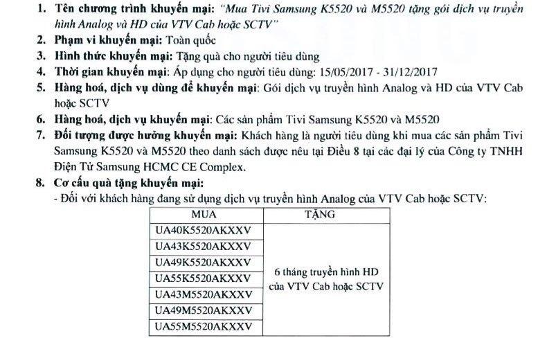 Chi tiết thông báo từ chương trình của Samsung