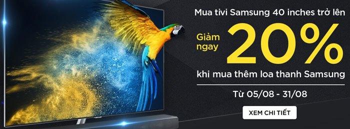 Giảm giá loa thanh khi mua tivi Samsung 40 inch trở lên, cho những giây phút giải trí thêm phần thú vị