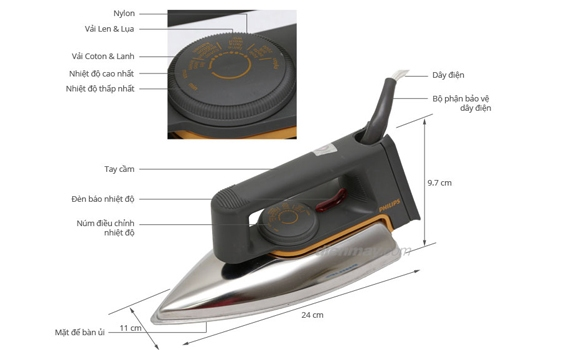 Bàn ủi Philips HD1172 có nhiều mức độ lựa chọn