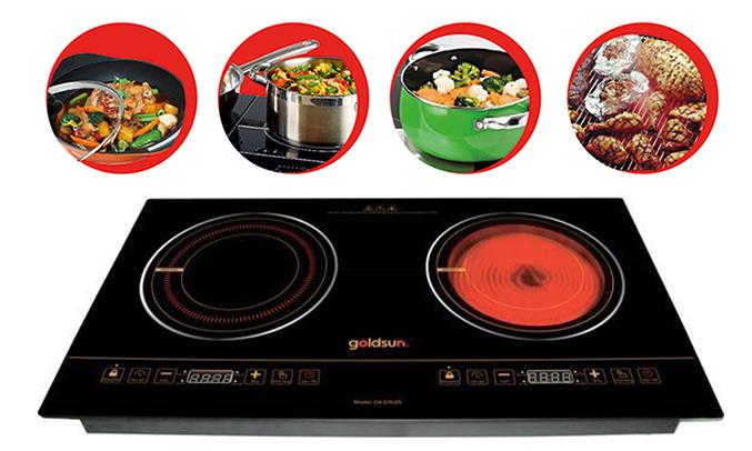 Bếp điện từ và hồng ngoại Goldsun CH-GYL05 màu đen