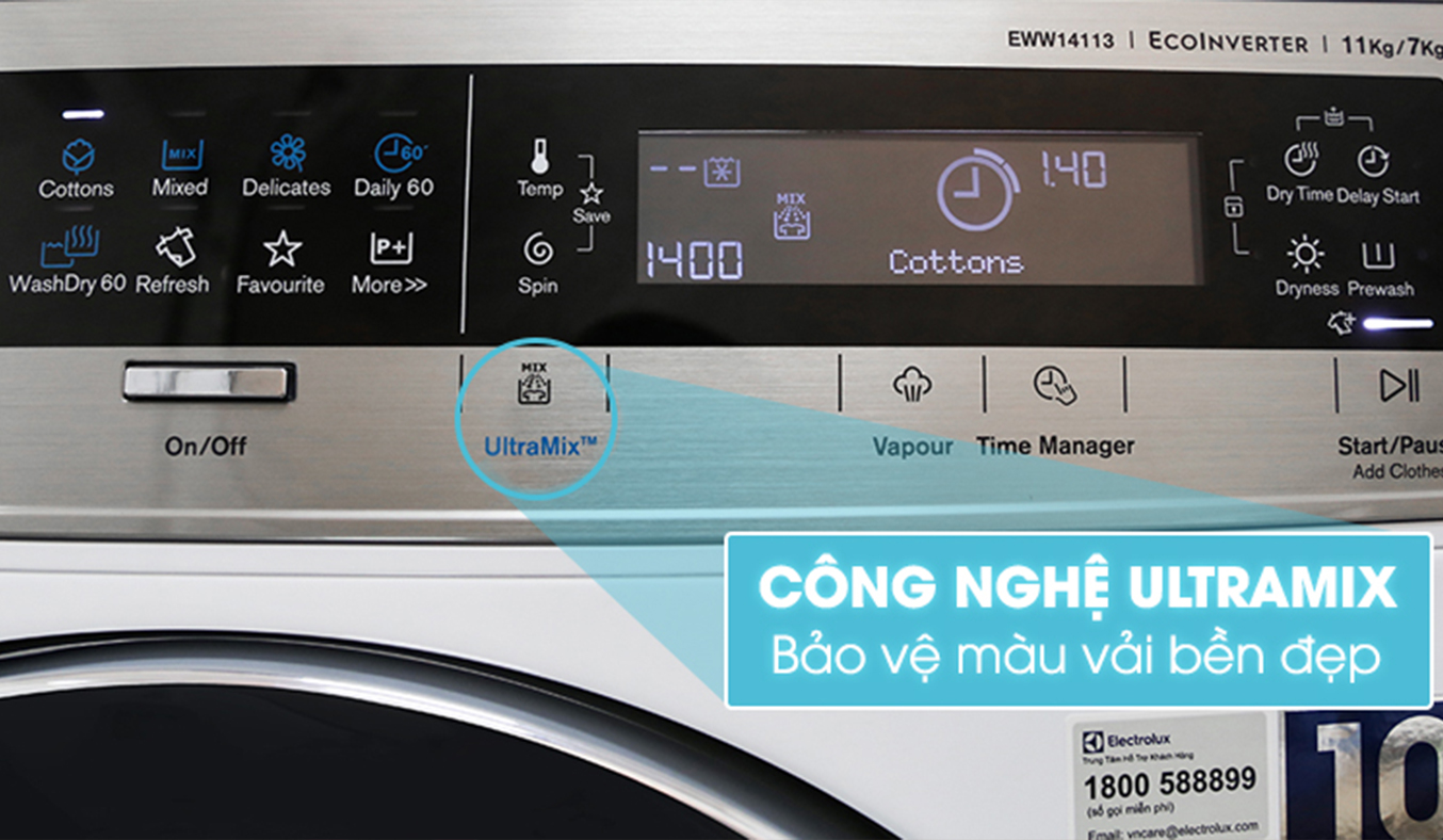 Máy giặt sấy Electrolux Inverter EWW14113 bảo vệ màu áo