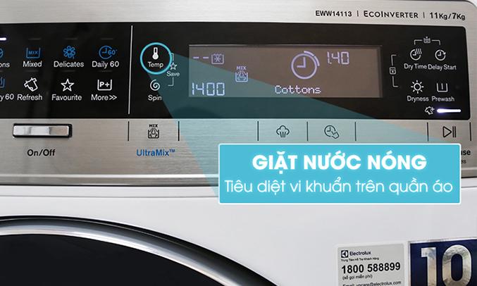 Máy giặt sấy Electrolux Inverter EWW14113 diệt khuẩn