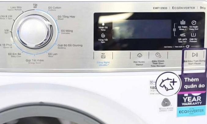 máy giặt Electrolux 9kg EWF12933 cảm ứng