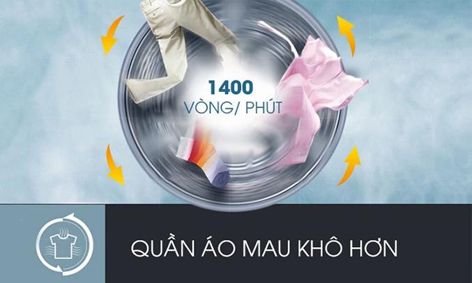 Máy giặt LG 9KG FC1409S2W có tốc độ quay vắt nhanh chóng
