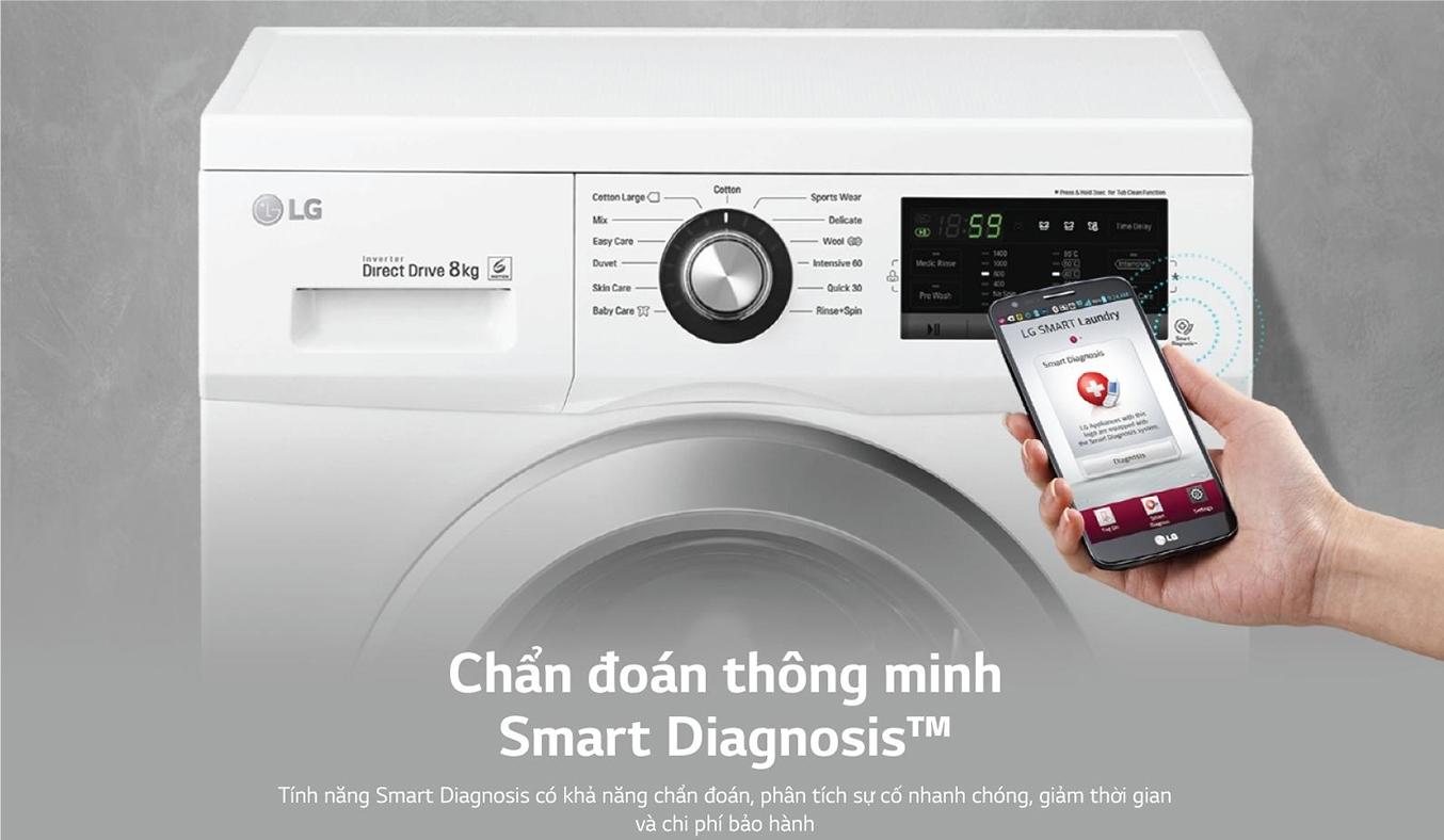 Máy giặt LG Inverter 8 Kg FM1208N6W thông minh