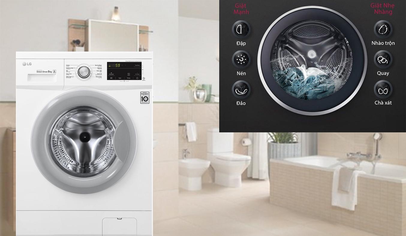 Máy giặt LG Inverter 8 Kg FM1208N6W 6 chuyển động DD bảo vệ vải tối ưu