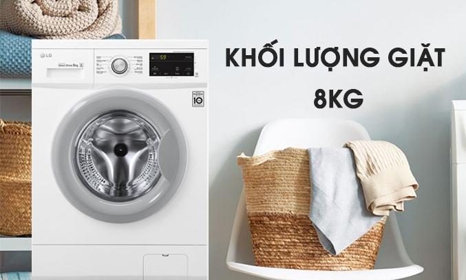 Máy giặt LG Inverter 8 Kg FM1208N6W khối lượng 8kg