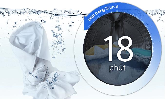 Máy giặt Samsung Inverter 8 Kg WW80T3020WW/SV - Giặt siêu nhanh 18 phút