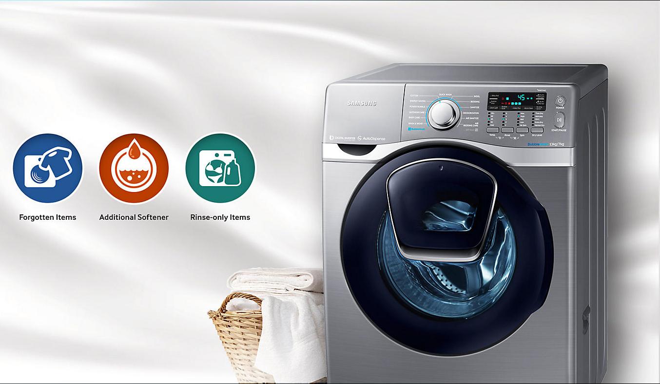 Máygiặt sấy Samsung 17kg WD17J7825KP giặt bổ sung tiện lợi