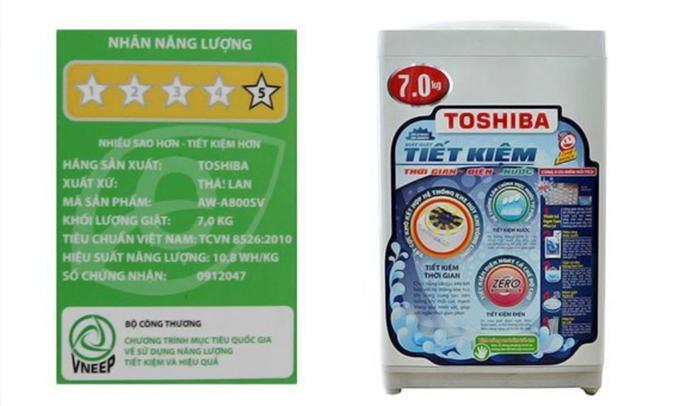 Máy giặt Toshiba AW-A800SV 7 kg tiết kiệm điện năng