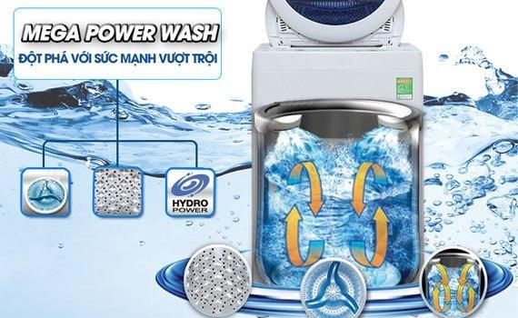 Bột giặt hòa tan đều với hiệu ứng thác nước đôi của máy giặt Toshiba AW-B1000GV