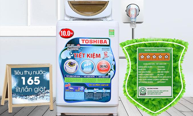 Máy giặt Toshiba AW-B1100GV(WD) 10 kg tiết kiệm điện nước hiệu quả