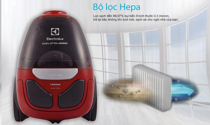 Máy hút bụi Electrolux ZCC5900 được thiết kế với bộ lọc Hepa lọc sạch đến 99,97%