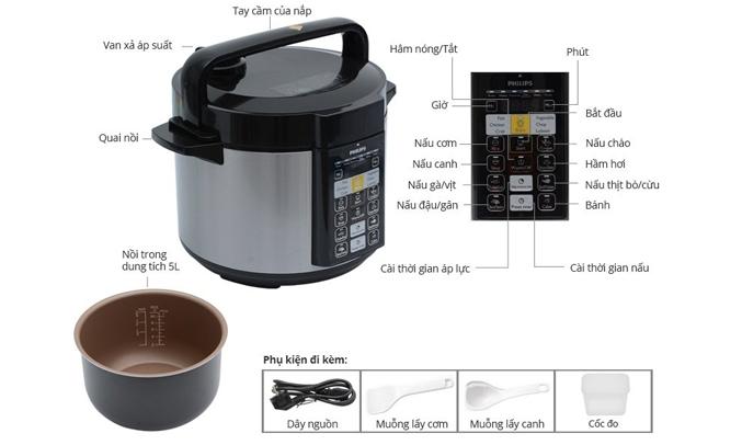 Nồi áp suất điện Philips HD2136/66 thức ăn chín nhanh và đều