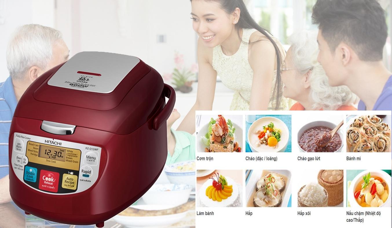 Nồi cơm điện Hitachi 1 lít RZ-D10WFY(RE) chế độ nấu đa dạng