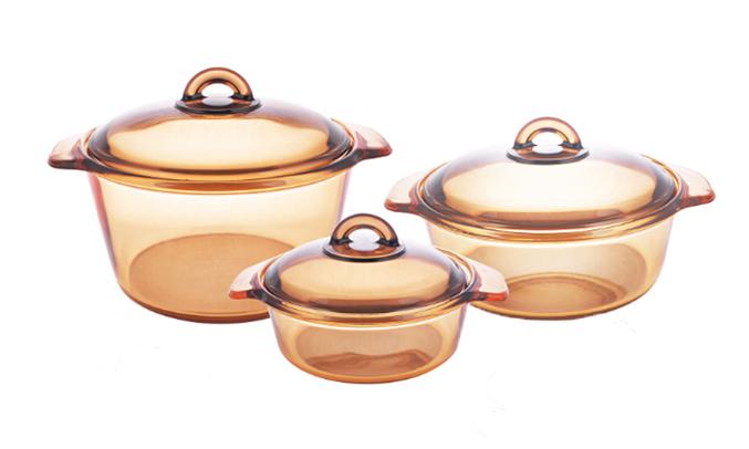 Bộ 3 nồi TT Luminarc Vitro Vitro Blooming Amber chất liệu thủy tinh cao cấp