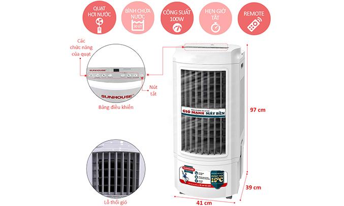Quạt làm mát không khí Sunhouse SHD7723 chất liệu chắc chắn, dễ vệ sinh