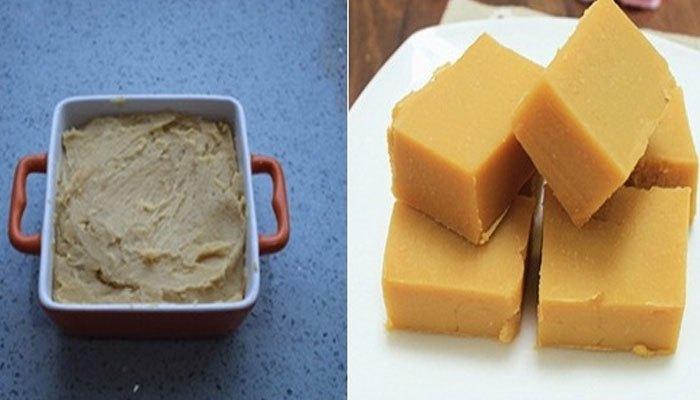 Cuối cùng cho đậu xanh vào tủ lạnh để đông lại thành bánh đậu xanh thơm ngon nhé!