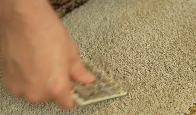 Chải lại miếng thảm sau khi đã ủi bằng bàn ủi