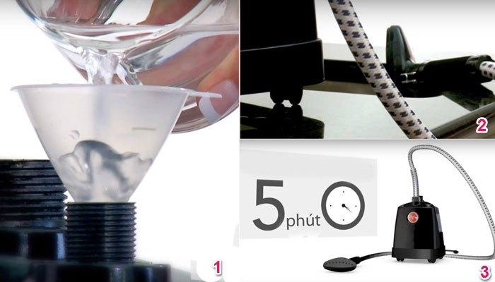 Đổ giấm vào bình chứa nước của bàn ủi hơi nước đứng