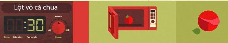 Trước khi đặt cà chua vào lò vi sóng hãy cắt vỏ thành hình chữ thập trước bạn nhé!