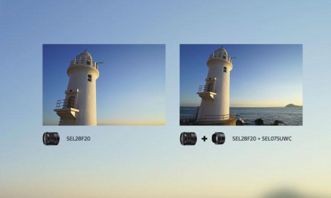 Kính chuyển đổi góc rộng Sony SEL075UWC||QSYX ấn tượng