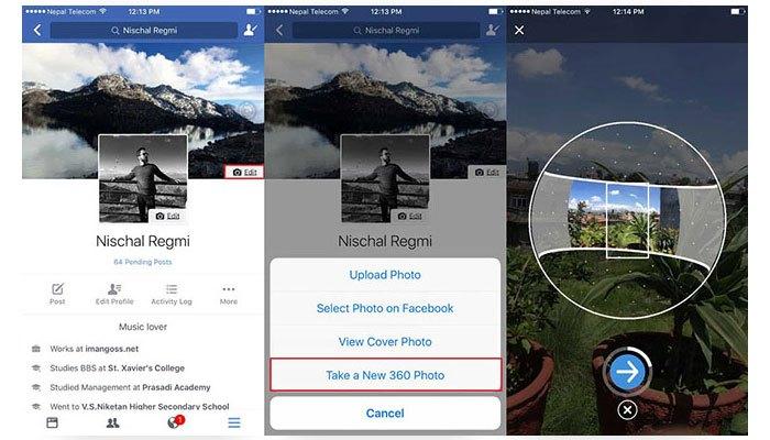 Thao tác tạo ảnh 360 độ rất đơn giản, bạn cầm điện thoại di chuyển theo chỉ dẫn của Facebook là xong
