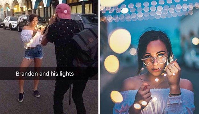 Trước khi dùng máy ảnh chụp, bạn cho người mẫu cầm thêm đèn led để tạo hiệu ứng ảo diệu cho bức hình