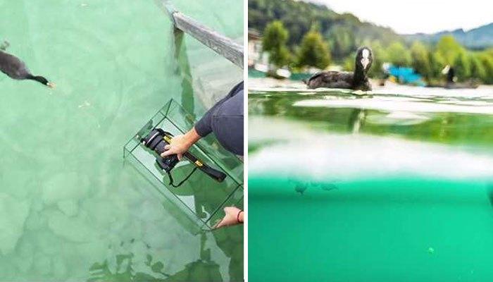 Cho máy ảnh vào hộp kính trong để chụp hình dưới nước