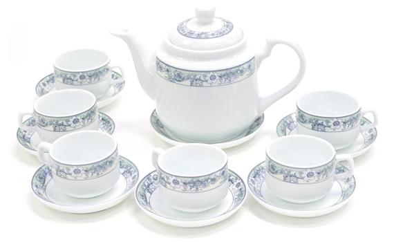 Bộ trà bát tràng Avenza AVZ-B00592 hoa văn tinh tế