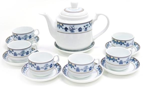 Bộ trà bát tràng Avenza AVZ-VQ39 hoa văn tinh tế