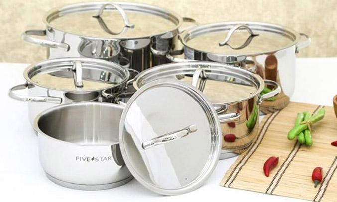 Bộ 5 nồi cao cấp Fivestar 3 đáy FS10C không kén bếp