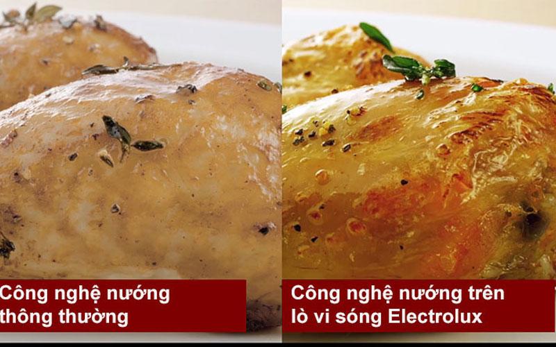Thức ăn được nướng bằng lò vi sóng Electrolux vàng rượm hấp dẫn