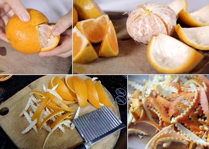 Rửa sạch cam và lột bỏ múi, chỉ giữ phần vỏ làm mứt. Vỏ cam cần thái thành từng miếng dài vừa ăn.