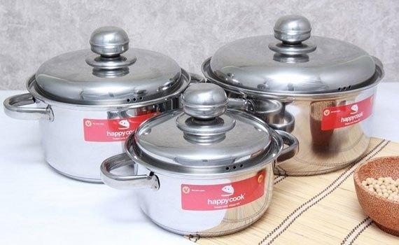 Bộ nồi inox 3 đáy Happy Cook HL06IC gồm 3 nồi có kích thước khác nhau