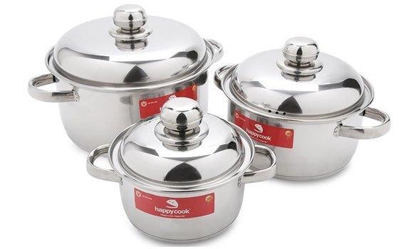 Bộ nồi inox 3 đáy Happy Cook HL06IC có thiết kế dễ sử dụng