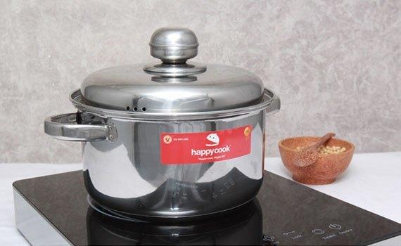 Bộ nồi inox 3 đáy Happy Cook HL06IC sử dụng được nhiều loại bếp