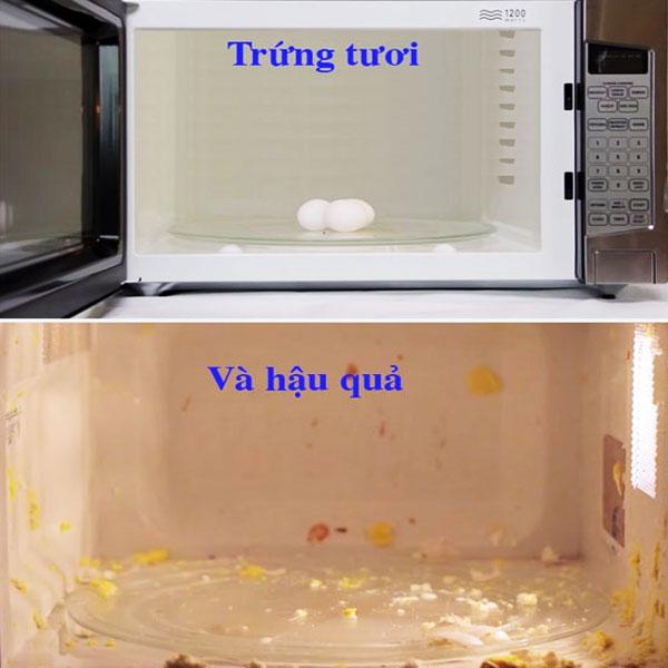 Thay vì cho trứng nguyên vỏ vào lò vi sóng, bạn nên đập trứng ra bát, có thể đánh tan lòng đỏ rồi sau đó mới cho vào lò vi sóng để tránh cháy nổ