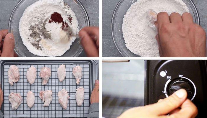 Lăn gà qua bột rồi cho vào lò nướng