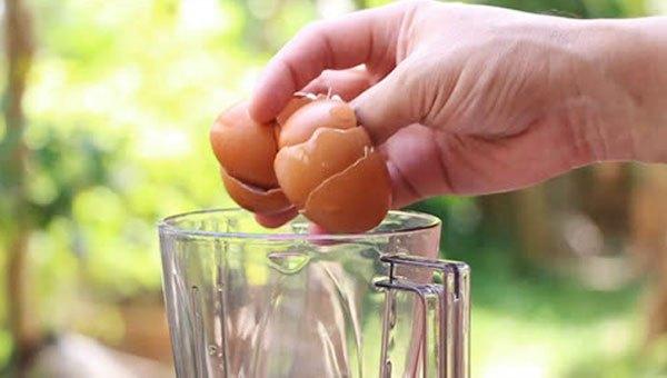 Cho vỏ trứng gà vào máy xay sinh tố và thêm ít nước